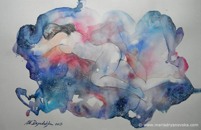 Mysterious nebula II - aquarelle, nude